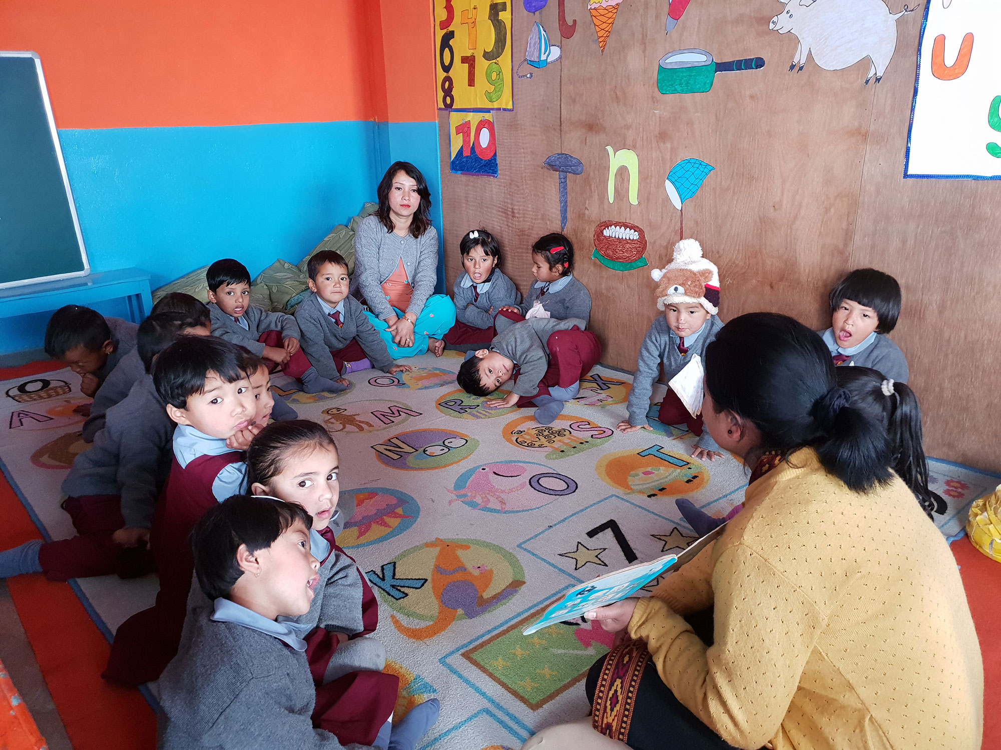 Story time for students in India