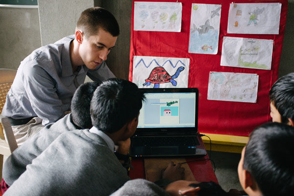 A volunteer teaching in a school in Darjeeling, India