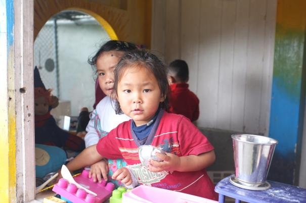 Children cooking in India